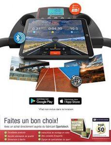 écran connecté du tapis de course sportstech F10